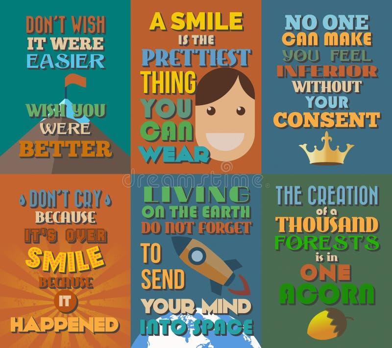 Manifesti motivazionali e ispiratori insoliti di citazioni Insieme 8 royalty illustrazione gratis