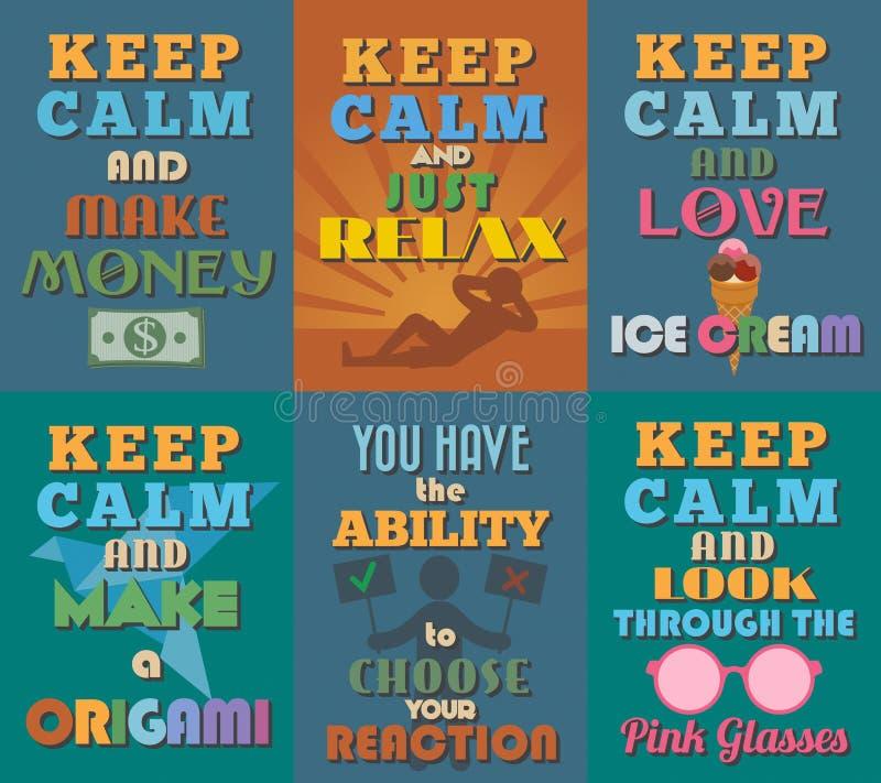 Manifesti motivazionali e ispiratori insoliti di citazioni Insieme 7 royalty illustrazione gratis