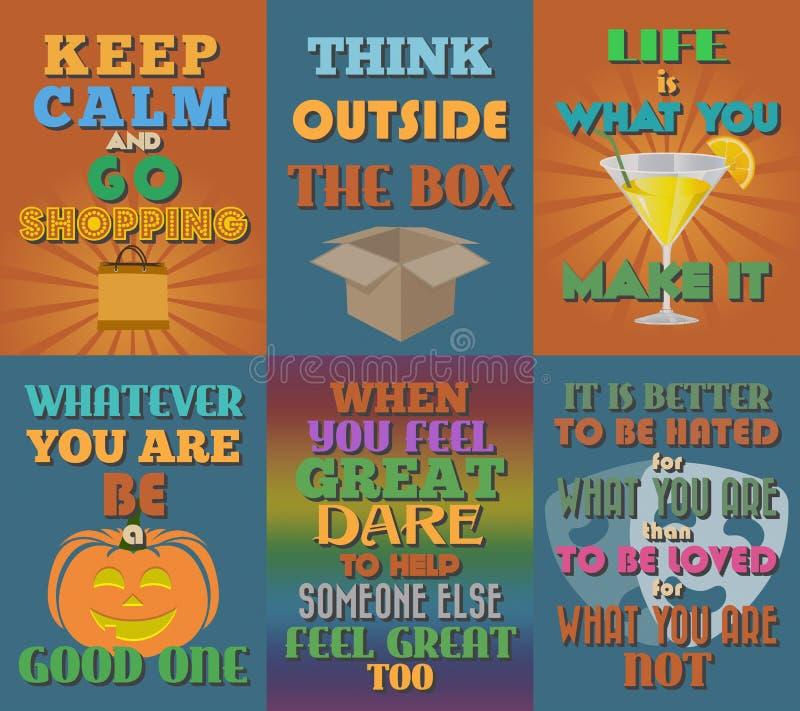 Manifesti motivazionali e ispiratori insoliti di citazioni Insieme 13 illustrazione vettoriale