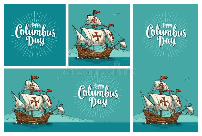 Manifesti per Columbus Day felice Galleggiamento della nave di navigazione illustrazione di stock