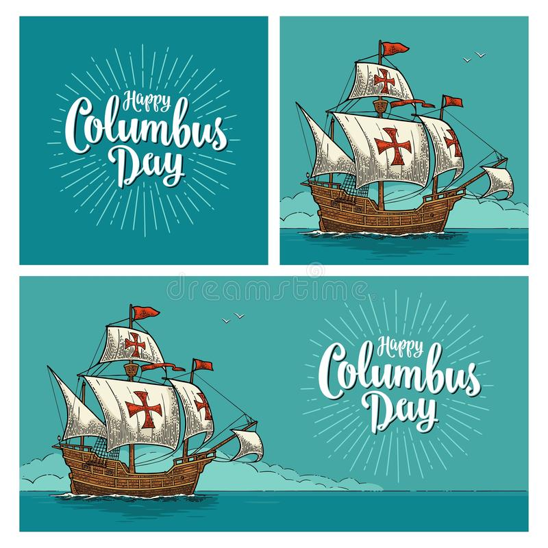 Manifesti per Columbus Day felice Galleggiamento della nave di navigazione royalty illustrazione gratis