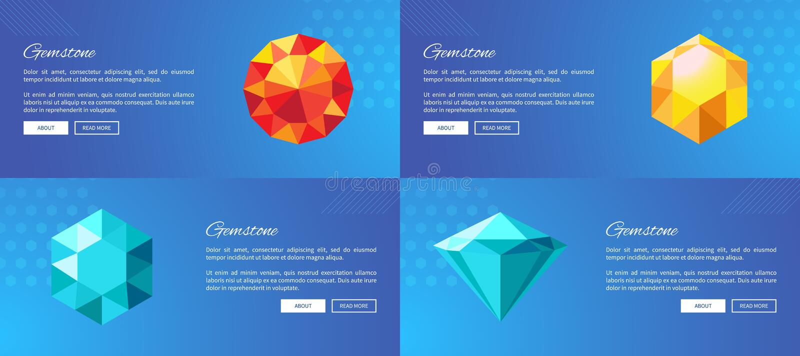 Manifesti promozionali di Internet delle pietre preziose di lusso messi illustrazione di stock