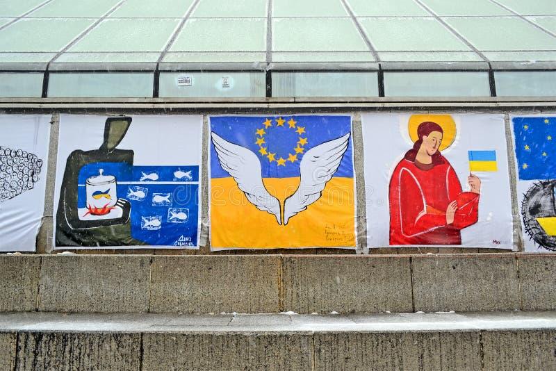 Manifesti sull'euro riunione maidan a Kiev, Ucraina, immagini stock