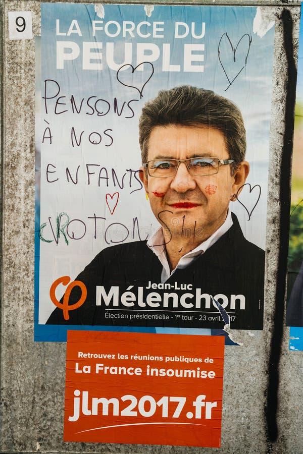 Manifesti ufficiali di campagna di Jean-Luc Melencho immagini stock