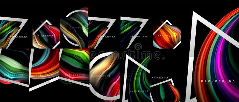 Manifesti variopinti di flusso, raccolta mega, pacco degli ambiti di provenienza astratti fluidi mescolantesi, colori d'avanguard illustrazione vettoriale