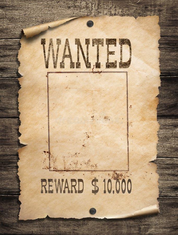 Manifesto ad ovest selvaggio carente su fondo di legno fotografia stock libera da diritti