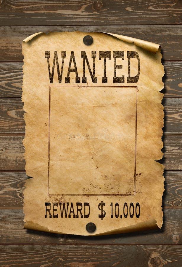 Manifesto ad ovest selvaggio carente su vecchio fondo di legno immagine stock
