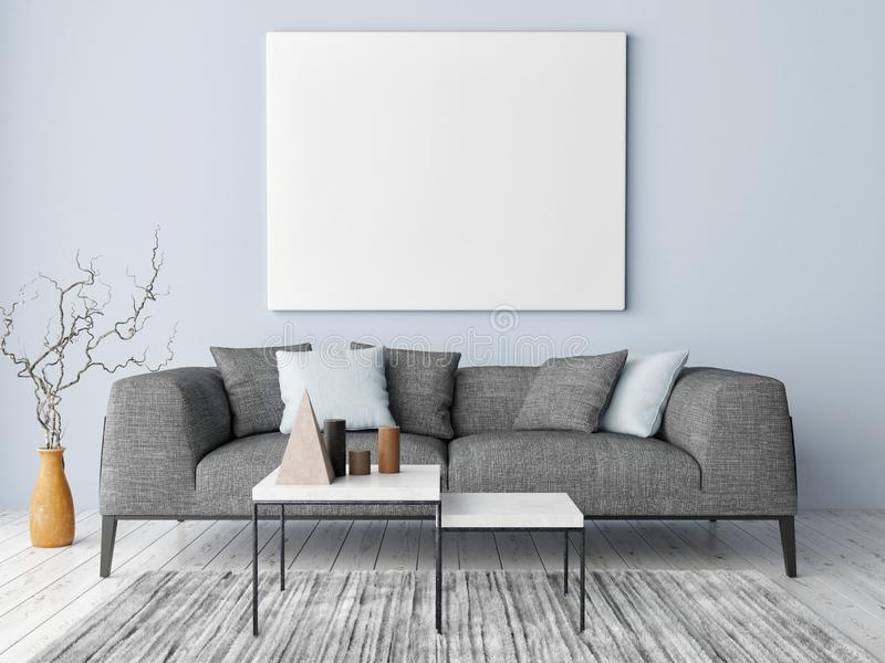 Manifesto alto falso sul fondo dei pantaloni a vita bassa, sulla parete blu, sulla decorazione e sul sofà, fotografia stock