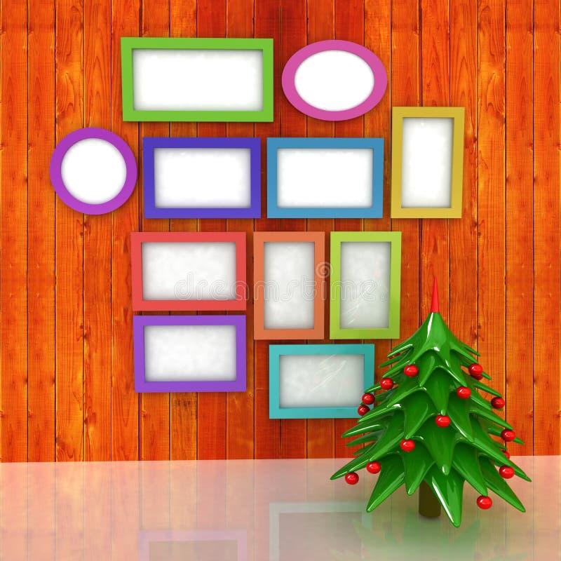 Manifesto alto falso sulla parete di legno con l'albero di Natale e il decorati illustrazione vettoriale