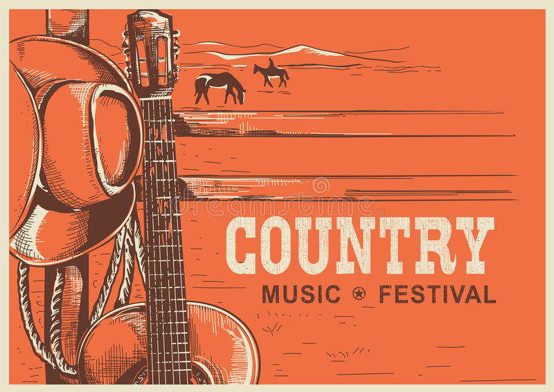 Manifesto americano di musica country con il cappello da cowboy e la chitarra illustrazione vettoriale