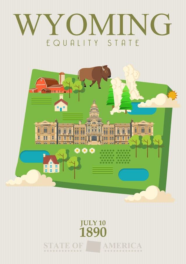 Manifesto americano di vettore del Wyoming con la mappa verde Illustrazione di viaggio di U.S.A. Cartolina d'auguri variopinta de illustrazione vettoriale