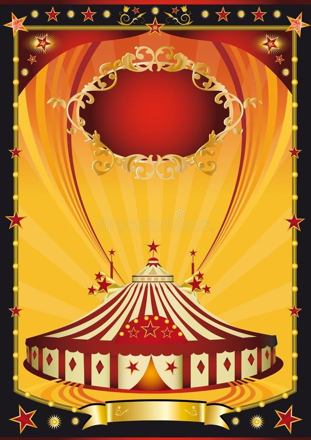 Manifesto arancione e nero piacevole del circo illustrazione vettoriale