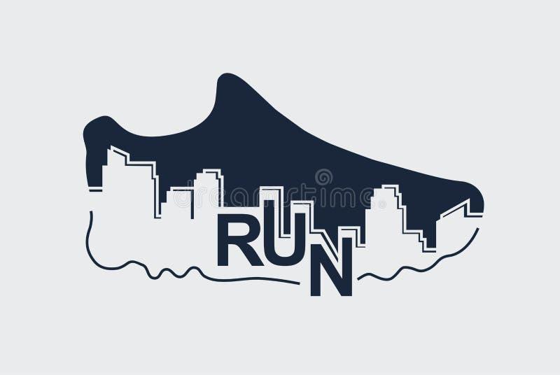 Manifesto astratto - correre, scarpa di sport e la città Illustrazione di vettore illustrazione vettoriale