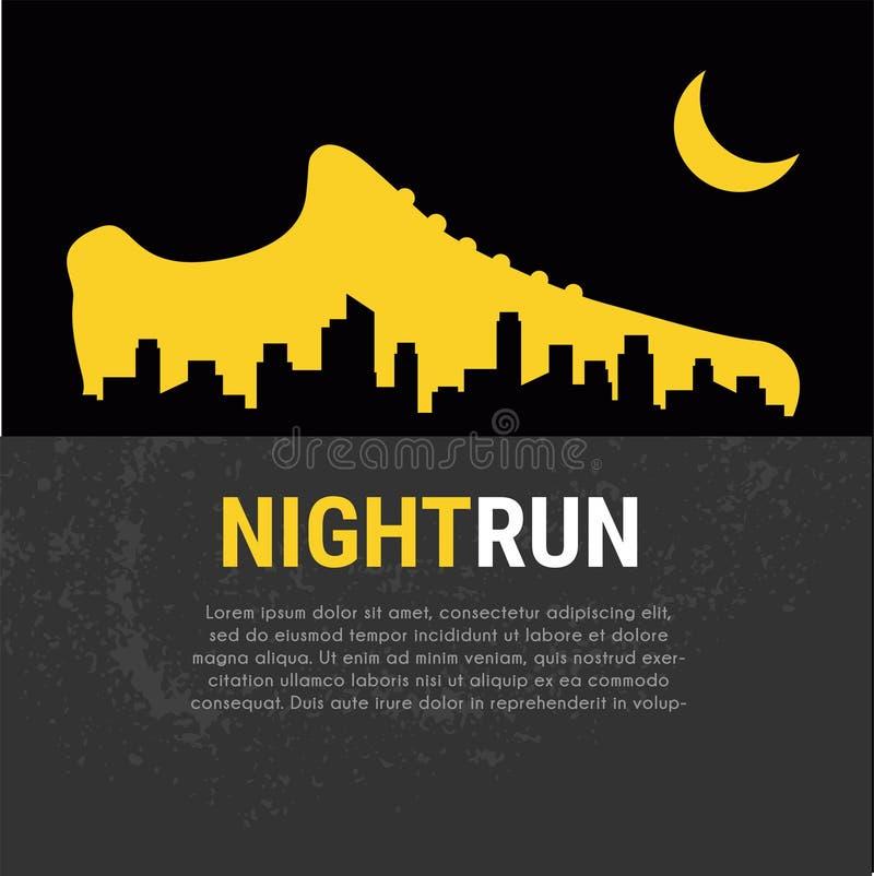 Manifesto astratto di vettore - correre, scarpa di sport ed il profilo della città maratona di funzionamento di notte illustrazione vettoriale