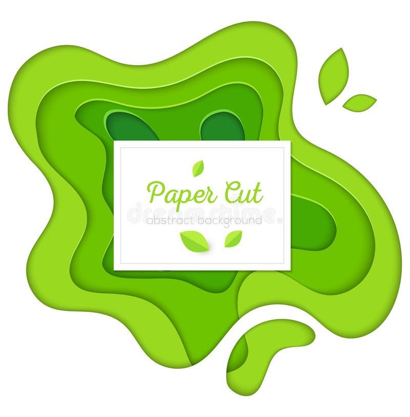 Manifesto astratto verde - la carta di vettore ha tagliato l'illustrazione royalty illustrazione gratis