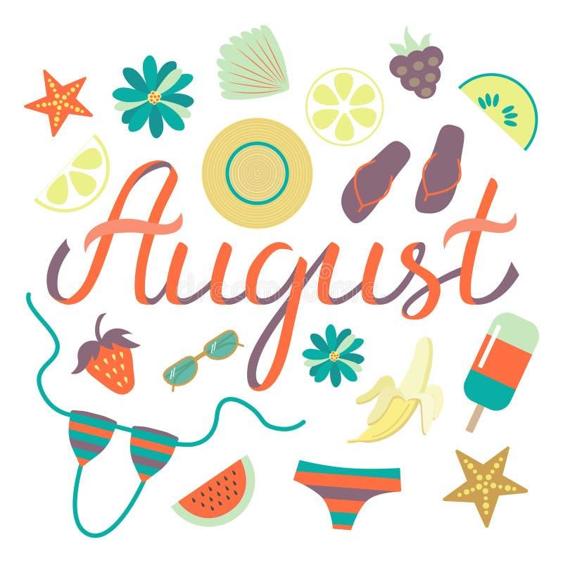 Manifesto augusto disegnato a mano dell'iscrizione di tipografia con gli elementi di giorno di estate royalty illustrazione gratis
