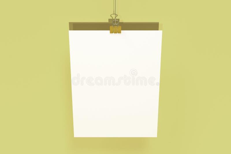 Manifesto bianco in bianco con il modello della clip del raccoglitore su fondo giallo royalty illustrazione gratis