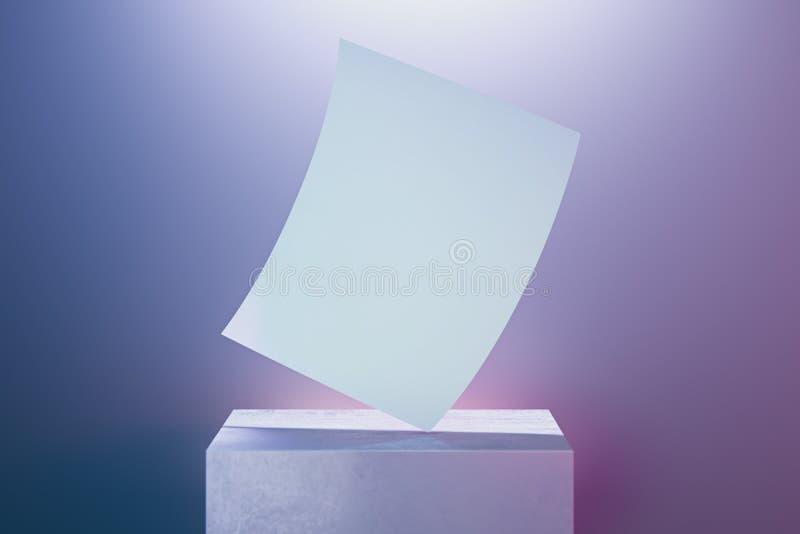 Manifesto in bianco della tela sulla vetrina su fondo illuminato rappresentazione 3d fotografie stock