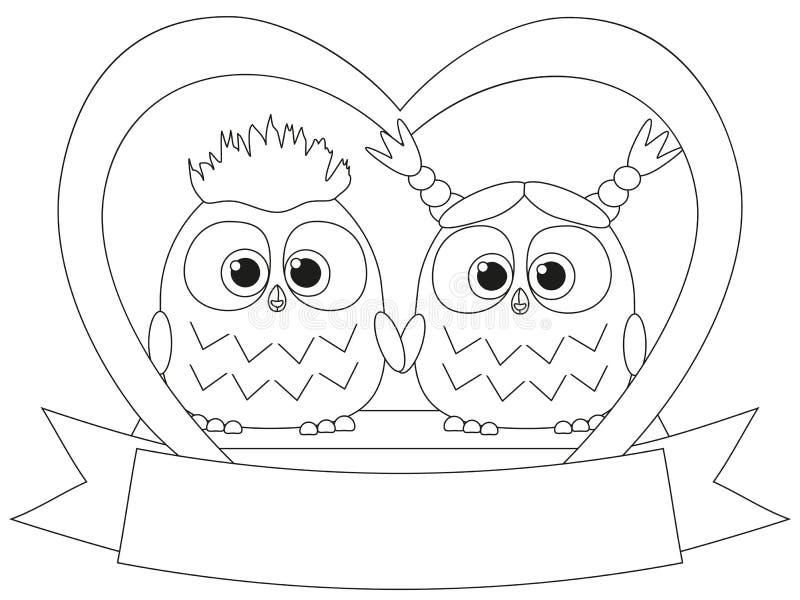 Manifesto in bianco e nero di giorno di S. Valentino con una coppia del gufo illustrazione di stock