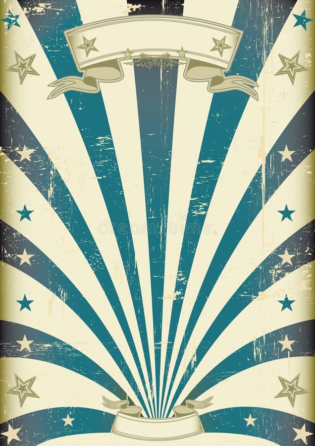 Manifesto blu dell'annata dei fasci del circo illustrazione di stock