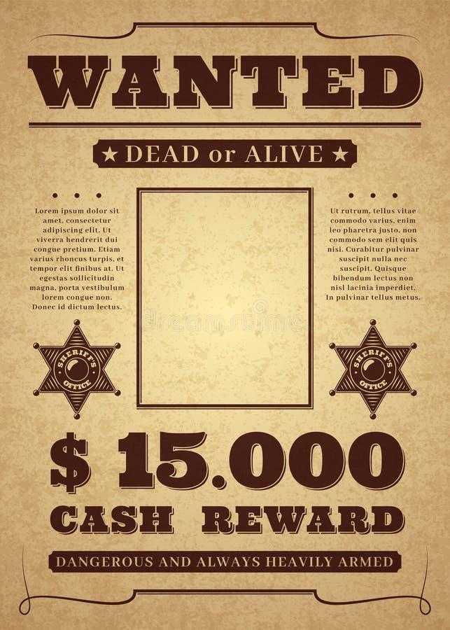 Manifesto carente Vecchio modello criminale occidentale afflitto di vettore Fondo carente morto o vivo illustrazione vettoriale