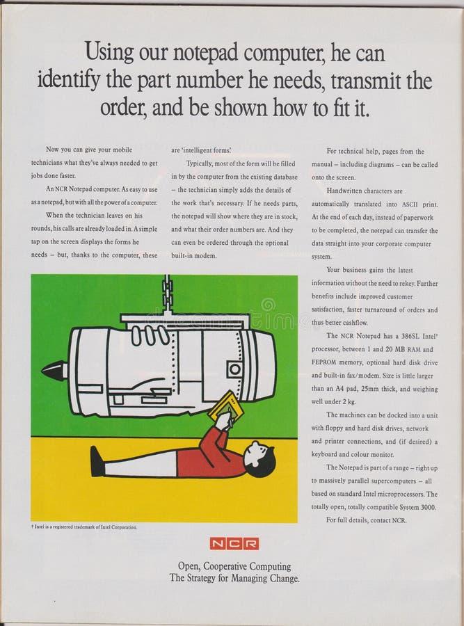 Manifesto che annuncia il computer del blocco note dell'ncr, chip di unità di elaborazione 386sl in rivista dal 1992, strategia d fotografia stock libera da diritti