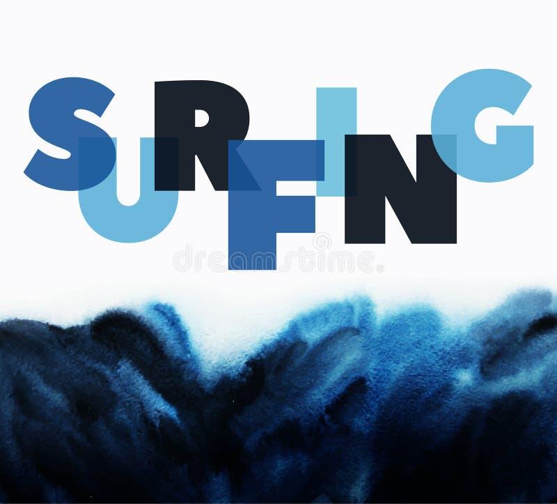 Manifesto circa praticare il surfing illustrazione di stock