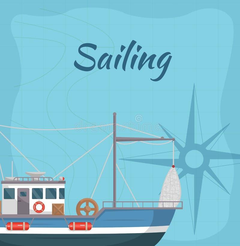 Manifesto commerciale di navigazione con la nave del mare illustrazione vettoriale