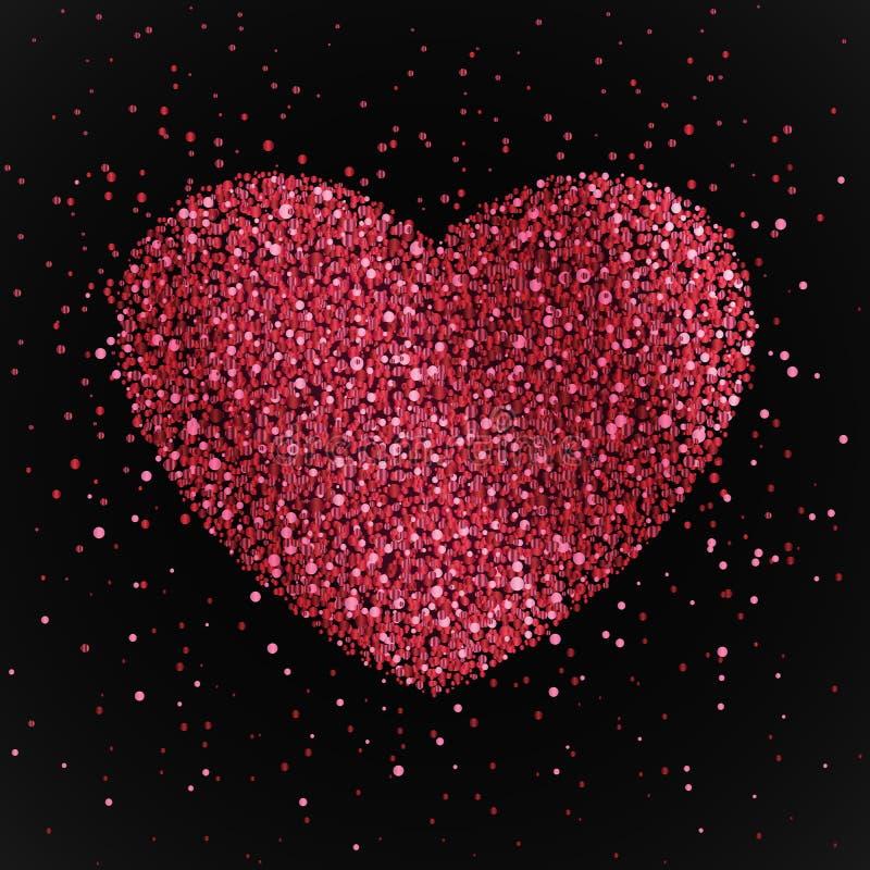 Manifesto con cuore dai coriandoli rossi e rosa, scintille, scintillio Giorno di biglietti di S. Valentino felice su fondo nero illustrazione di stock