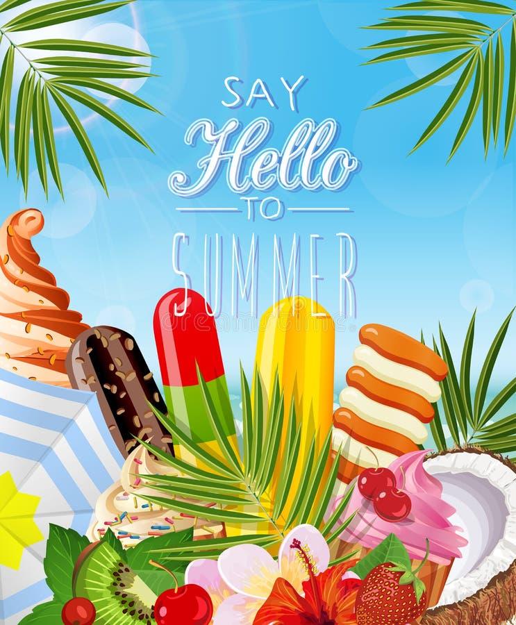 Manifesto con il gelato tropicale illustrazione di stock