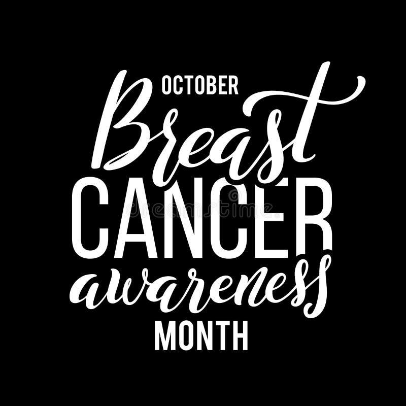 Manifesto con il mese disegnato a mano di consapevolezza del cancro al seno dell'iscrizione ad ottobre Vettore royalty illustrazione gratis