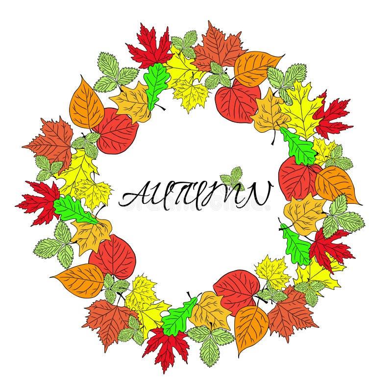 Manifesto con il vettore colourful di autunno delle foglie e dell'iscrizione di autunno illustrazione di stock