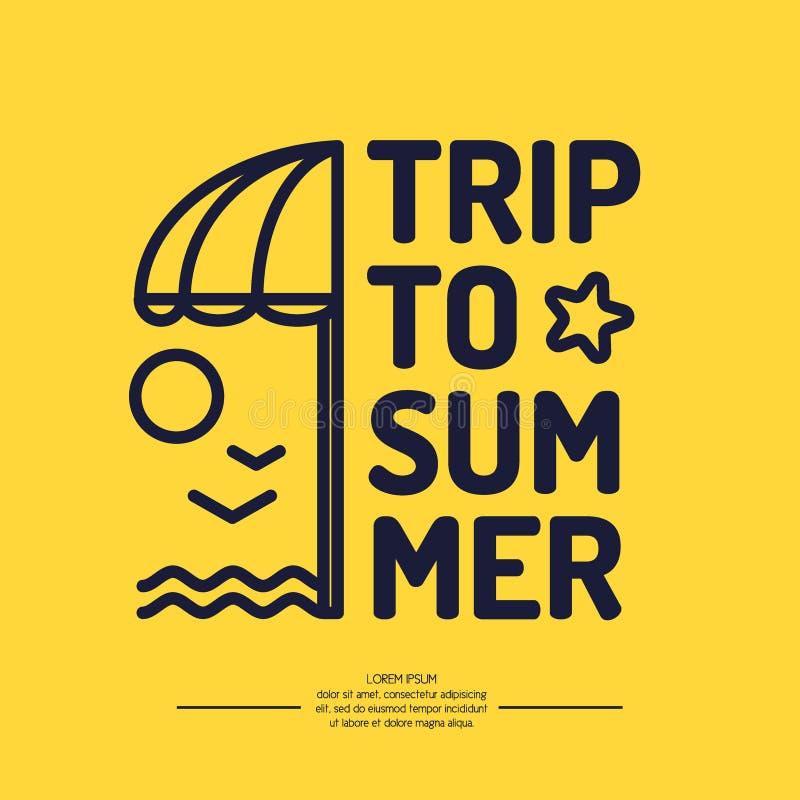 Manifesto con il viaggio del testo ad estate, ombrello di spiaggia illustrazione di stock