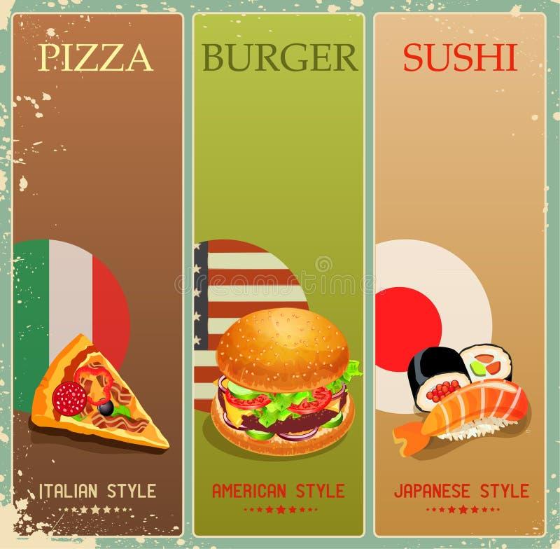 Manifesto con l'hamburger, pizza, sushi nello stile d'annata menu illustrazione vettoriale