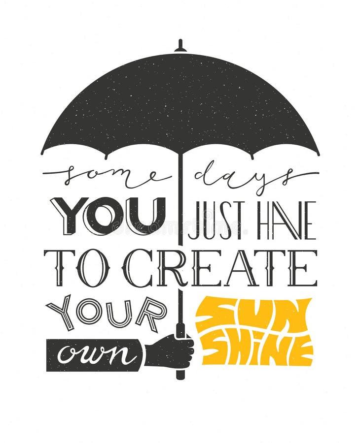 Manifesto con l'iscrizione dell'ombrello e del testo della tenuta della mano Citazione tipografica di motivazione del fondo illustrazione di stock