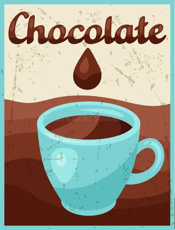 Manifesto con la barra di cioccolato nel retro stile royalty illustrazione gratis