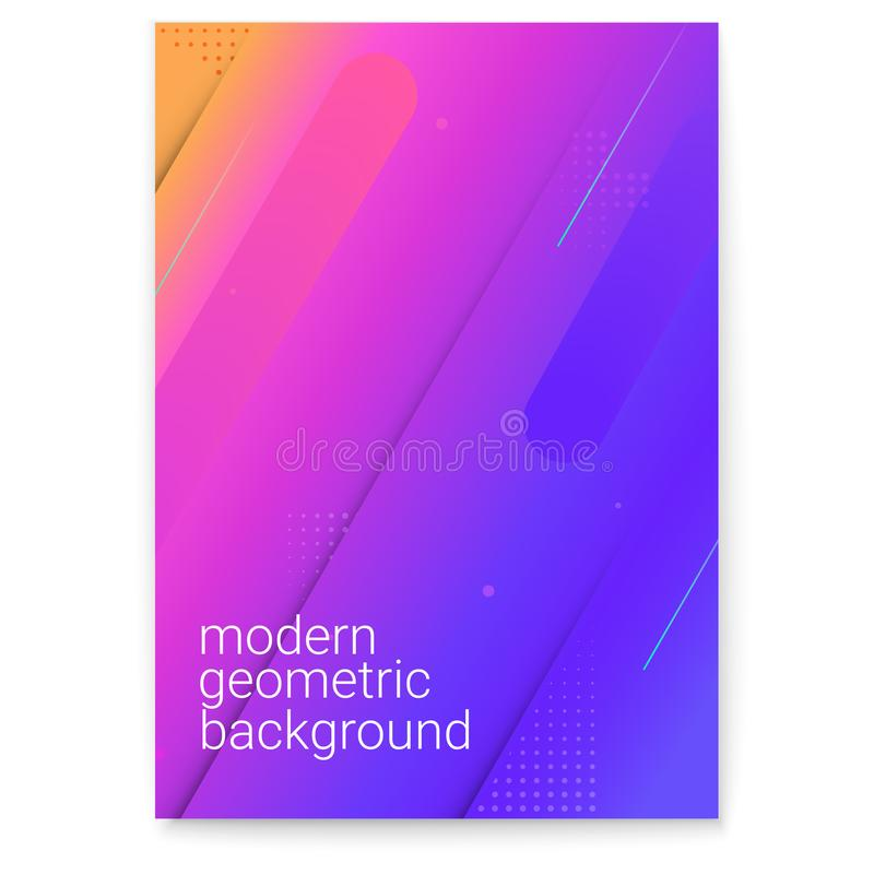 Manifesto con la pendenza moderna ed i grafici minimalistic Concetto della copertura con le forme dinamiche Fondo di vettore per illustrazione di stock