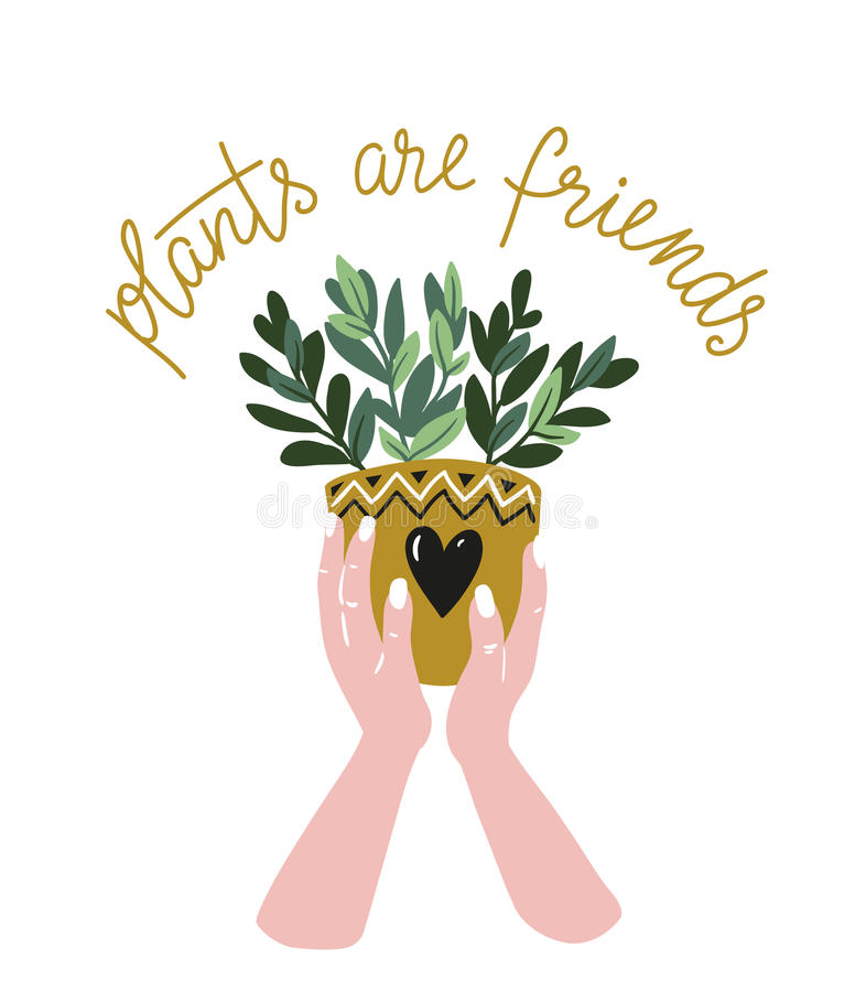 Manifesto con le mani della donna con la pianta tropicale ed il testo domestici - le piante del ` sono il ` degli amici Illustraz royalty illustrazione gratis