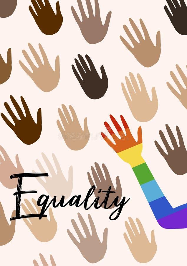 Manifesto con le mani e l'uguaglianza di citazione Bandiera dello spettro di orgoglio, omosessualità, emblema di uguaglianza Inse royalty illustrazione gratis