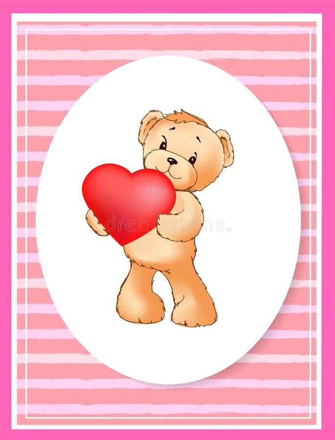Manifesto con Teddy Bear Holding Heart Balloon sveglio illustrazione vettoriale