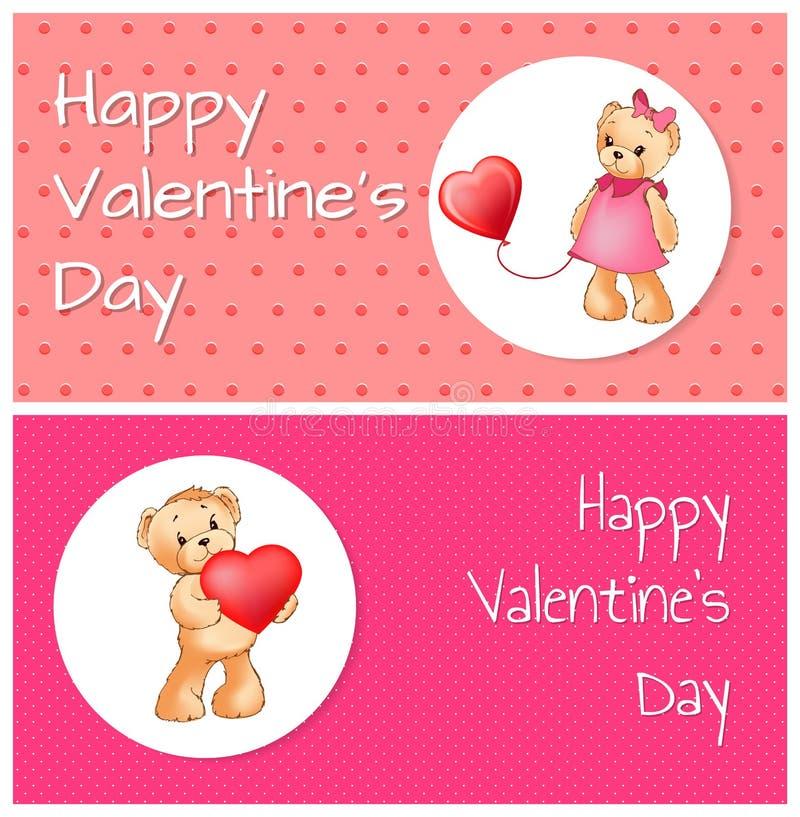 Manifesto con Teddy Bears Holding Heart Balloon sveglio illustrazione di stock