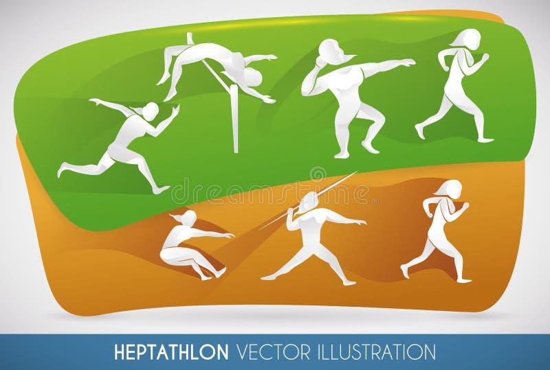 Manifesto con tutti gli eventi di atletica, illustrazione di heptathlon di vettore illustrazione vettoriale