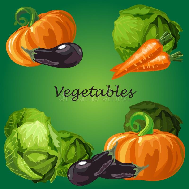 Manifesto con un'immagine delle verdure mature e sane isolate su fondo verde Zucca, melanzana e cavolo maturi illustrazione vettoriale