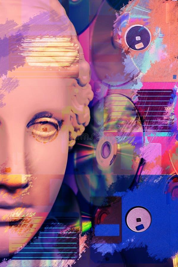 Manifesto concettuale moderno di arte con la statua antica del fronte ed il dischetto Collage di arte contemporanea immagini stock