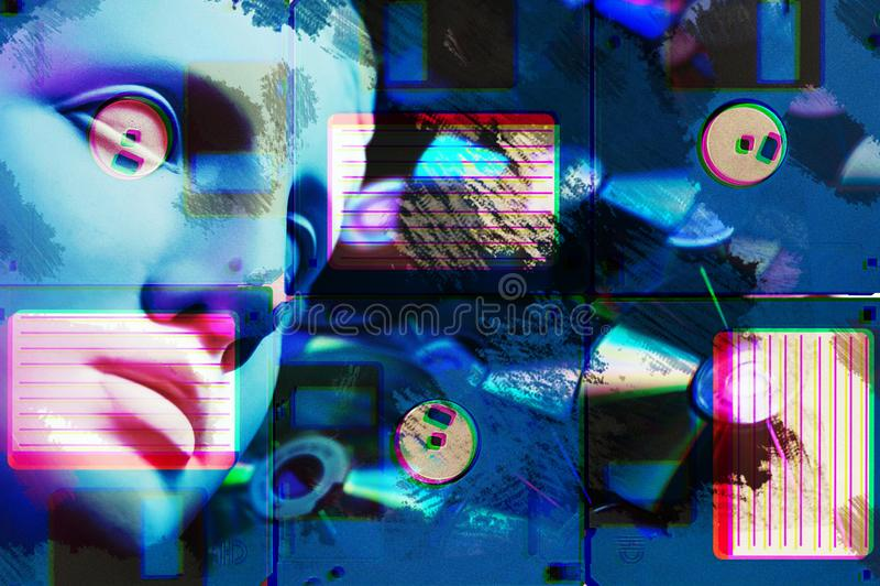 Manifesto concettuale moderno di arte con la statua antica del fronte ed il dischetto Collage di arte contemporanea fotografie stock libere da diritti