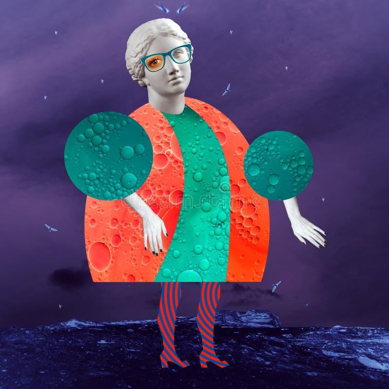 Manifesto concettuale moderno di arte con una bambola divertente in uno stile di massurrealism Collage di arte contemporanea illustrazione di stock
