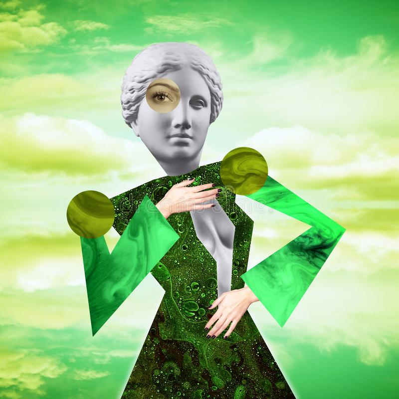Manifesto concettuale moderno di arte con una bambola divertente in uno stile di massurrealism Collage di arte contemporanea illustrazione vettoriale