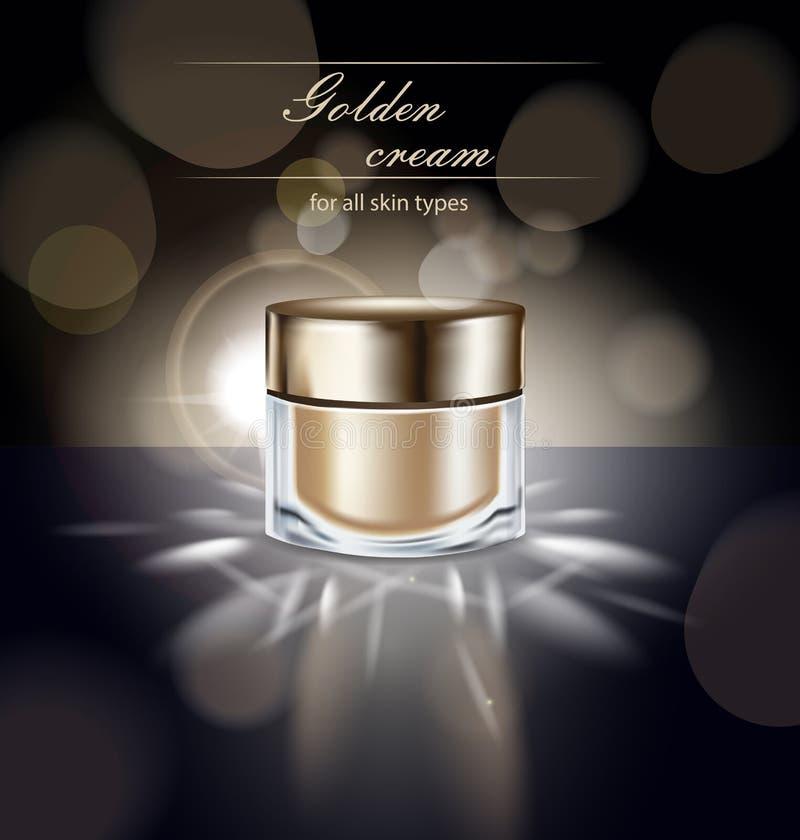 Manifesto cosmetico del prodotto di bellezza, annunci crema, modello di trucco, pacchetto dorato della bottiglia, crema di cura d illustrazione di stock
