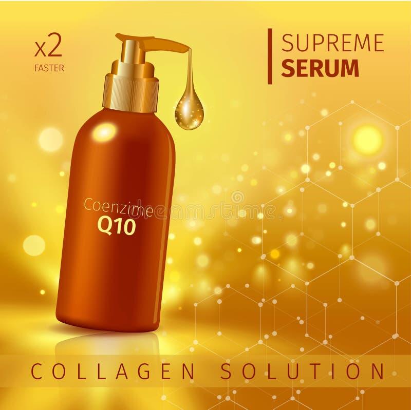 Manifesto cosmetico realistico del tubo dell'oro con la crema della soluzione del collagene o essenza sull'illustrazione di vetto illustrazione di stock