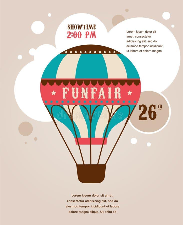 Manifesto d'annata con l'aerostato d'annata, fiera di divertimento royalty illustrazione gratis